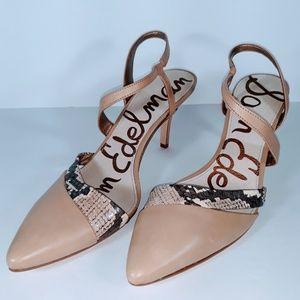 Sam Edelman Othello Nude Snakeskin High Heels